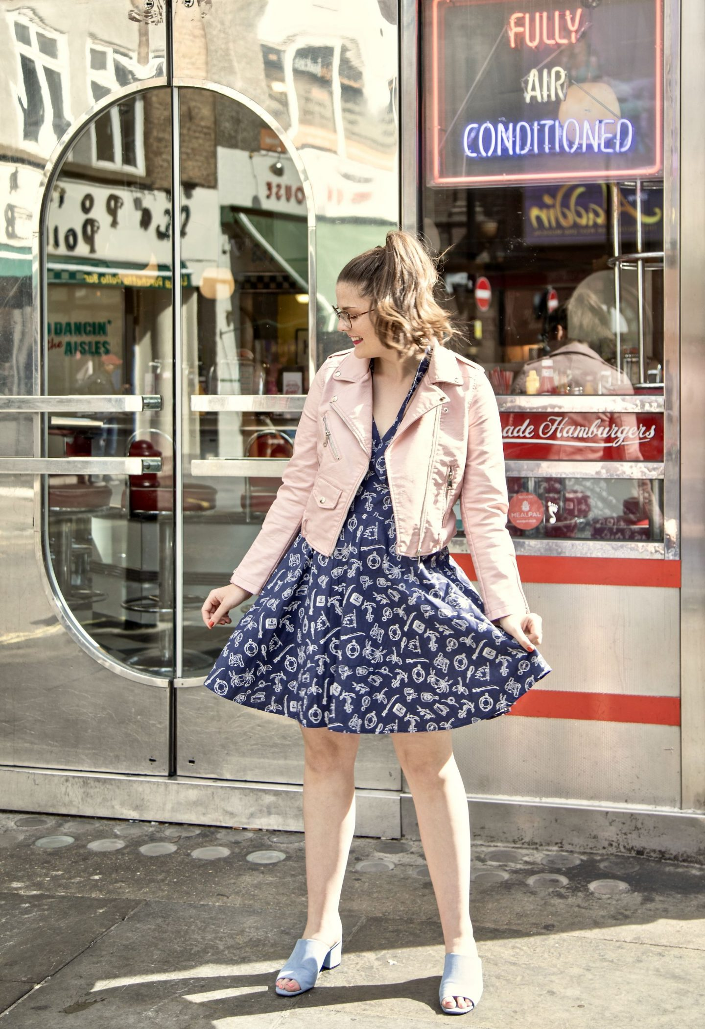 Little Miss Winney Kate 1950's Grease Theatre Pink Leather Jacket